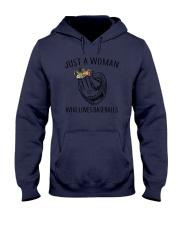 A Woman Loves Baseballs Hooded Sweatshirt thumbnail