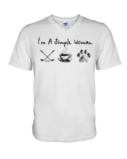 Hockey Coffee and Dogs V-Neck T-Shirt thumbnail