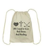 All I Need Is Love And Hockey  Drawstring Bag thumbnail