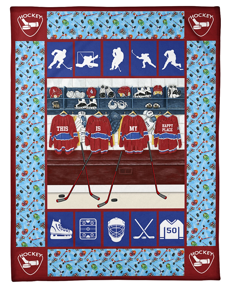 "Hockey Funny This Is My Happy Place Graphic Design Small Fleece Blanket - 30"" x 40"""