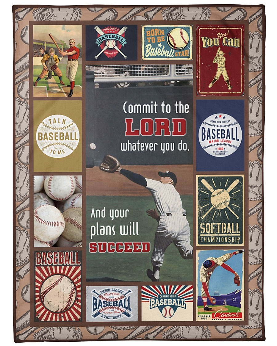"""Baseball Commit To The Lord Large Fleece Blanket - 60"""" x 80"""""""