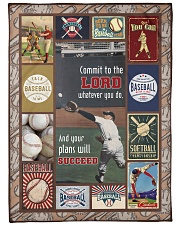 """Baseball Commit To The Lord Large Fleece Blanket - 60"""" x 80"""" front"""