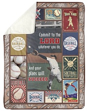 """Baseball Commit To The Lord Large Sherpa Fleece Blanket - 60"""" x 80"""" thumbnail"""