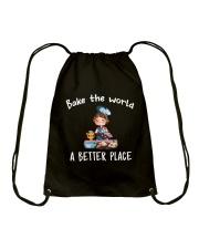 Bake The World A Better Place Drawstring Bag thumbnail