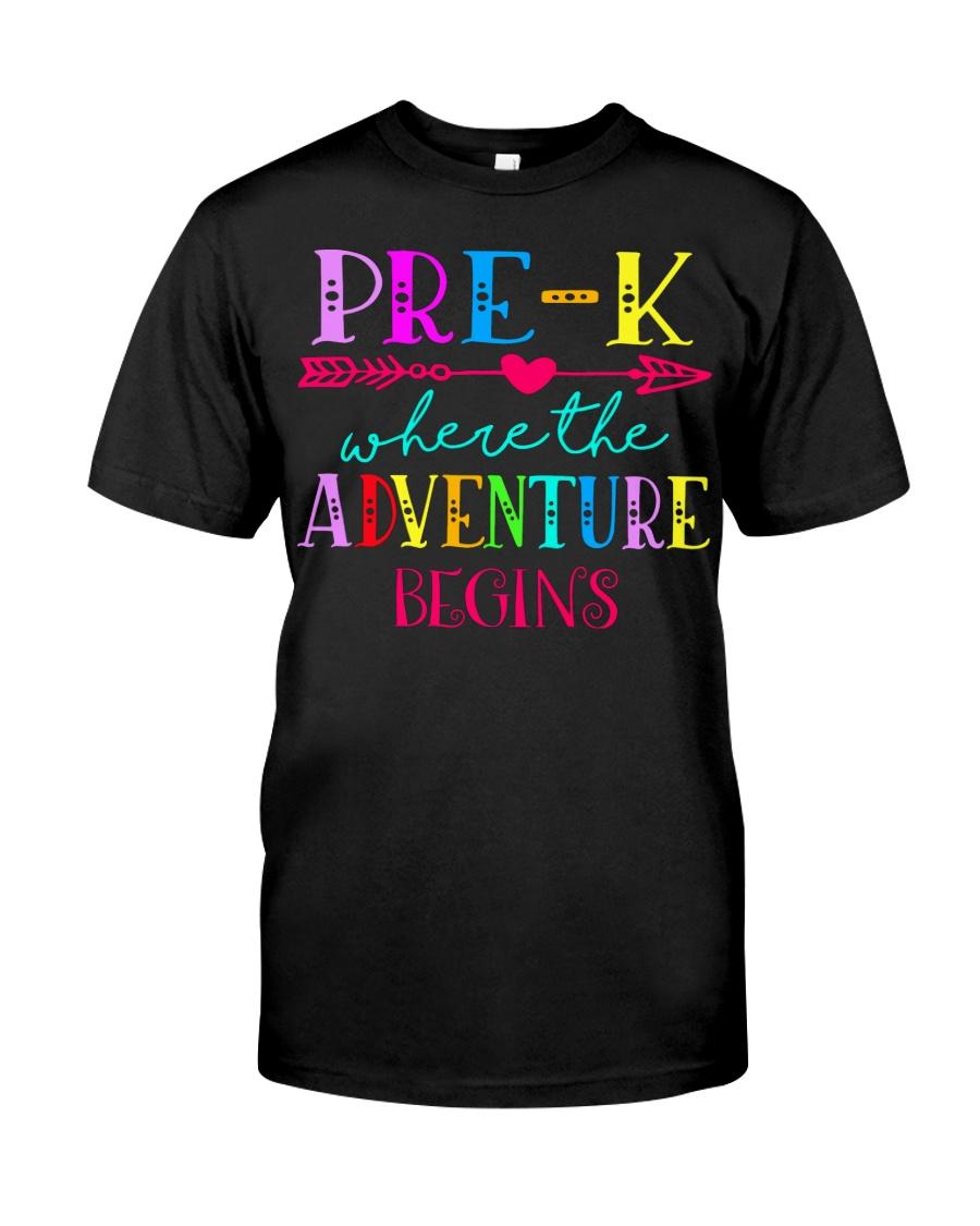 Pre K Teacher Adventure Begins Teacher Back To Sch Classic T-Shirt