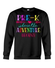 Pre K Teacher Adventure Begins Teacher Back To Sch Crewneck Sweatshirt thumbnail