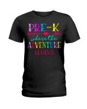 Pre K Teacher Adventure Begins Teacher Back To Sch Ladies T-Shirt thumbnail