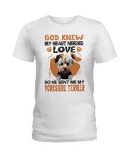 GOD SENT ME MY YORKSHIRE TERRIER Ladies T-Shirt thumbnail