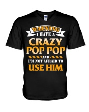 Warning Crazy Pop Pop V-Neck T-Shirt thumbnail