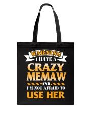 Warning Crazy Grandma Tote Bag thumbnail