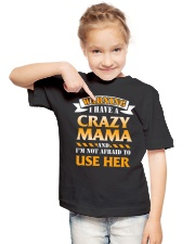 Warning Crazy Mama Youth T-Shirt lifestyle-youth-tshirt-front-2