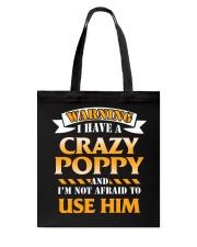 Warning Crazy Poppy Tote Bag thumbnail