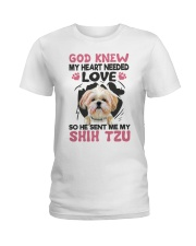 GOD SENT ME MY SHIH TZU Ladies T-Shirt tile