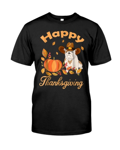 Happy Thanksgiving Shirt Bulldog Pilgrim Costume D