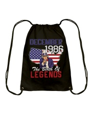 Legends Were Born In december 1986 Drawstring Bag thumbnail