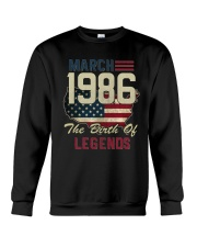 Legends Were Born In March 1986 32th Birthday Gift Crewneck Sweatshirt tile