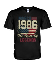 Legends Were Born In March 1986 32th Birthday Gift V-Neck T-Shirt tile