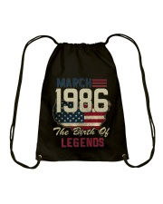 Legends Were Born In March 1986 32th Birthday Gift Drawstring Bag thumbnail
