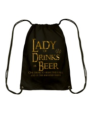 Lady of Drinks is Beer Drawstring Bag thumbnail