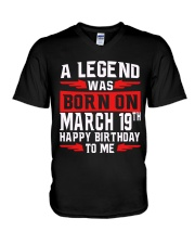 19th March legend V-Neck T-Shirt thumbnail