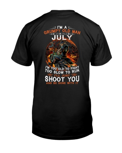 H - Grumpy old man July tee Cool T shirts for Men