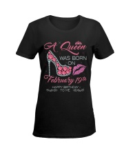 19 FEBRUARY QUEEN Ladies T-Shirt women-premium-crewneck-shirt-front