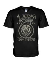 H- OCTOBER KING  V-Neck T-Shirt tile