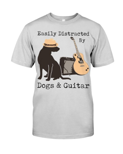 Easily distracted by dogs and guitar t-shirt