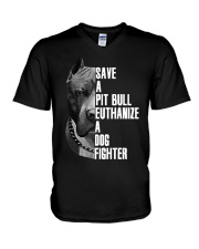 Save A Pitbull Euthanize A Dog Fighter shirts V-Neck T-Shirt thumbnail