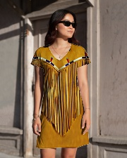 Tassels Yellow All-over Dress aos-dress-front-lifestyle-1
