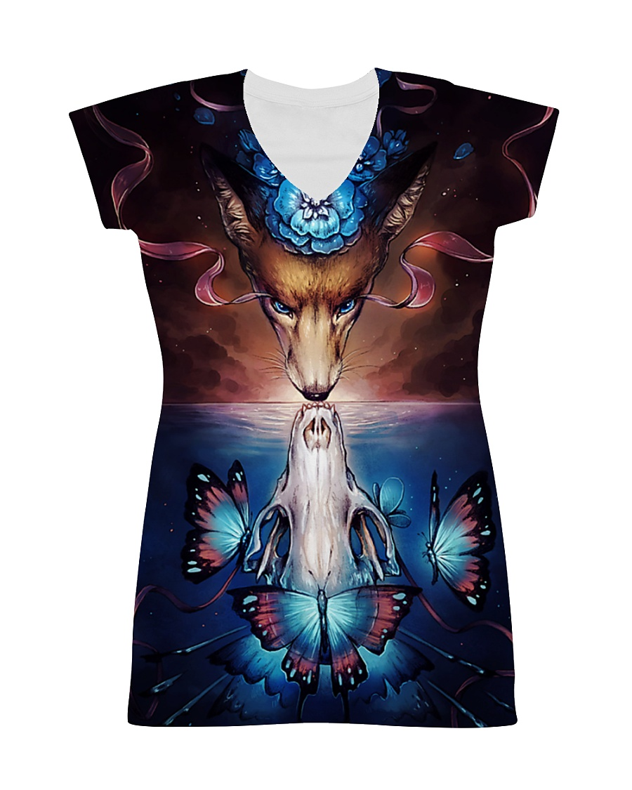 Wolf skull butterfly All-over Dress