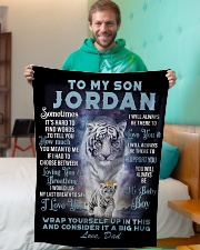 "To My Son Jordan from Dad- Tiger Small Fleece Blanket - 30"" x 40"" aos-coral-fleece-blanket-30x40-lifestyle-front-09"
