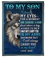 To My Son From Dad  - Wolf - 05 Fleece Blanket tile
