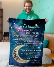 """To My Daughter From Mom - Love you to the Moon Small Fleece Blanket - 30"""" x 40"""" aos-coral-fleece-blanket-30x40-lifestyle-front-09"""