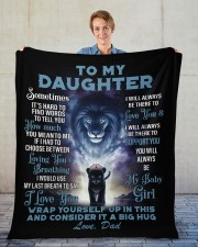 """To My Daughter From DAD - Lion- PRO1 Fleece Blanket - 50"""" x 60"""" aos-coral-fleece-blanket-50x60-lifestyle-front-01"""