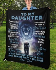 """To My Daughter From DAD - Lion- PRO1 Fleece Blanket - 50"""" x 60"""" aos-coral-fleece-blanket-50x60-lifestyle-front-02b"""