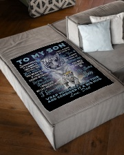 """To My Son from Dad- Tiger Small Fleece Blanket - 30"""" x 40"""" aos-coral-fleece-blanket-30x40-lifestyle-front-03"""