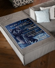 "To My Son From DAD -wolf- 02 Small Fleece Blanket - 30"" x 40"" aos-coral-fleece-blanket-30x40-lifestyle-front-03"