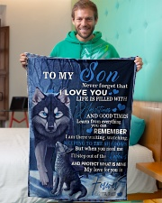 "To My Son From DAD -wolf- 02 Small Fleece Blanket - 30"" x 40"" aos-coral-fleece-blanket-30x40-lifestyle-front-09"