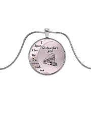 I Love My Railroader to the Moon and Back Metallic Circle Necklace thumbnail