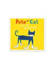 Pete the cat i love my white mask face mask Sticker - Single (Horizontal) thumbnail
