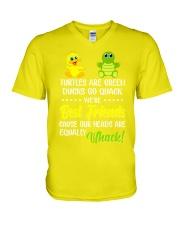 Turtles are green ducks go quack V-Neck T-Shirt tile