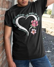 My heart is held by the paws of a dog Classic T-Shirt apparel-classic-tshirt-lifestyle-27
