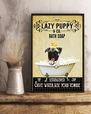 Lazy Puppy Bath Soap Save Water Use Your Tongue 11x17 Poster lifestyle-poster-3
