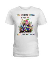 OLD WOMAN HIPPIES NEVER DIE Ladies T-Shirt thumbnail