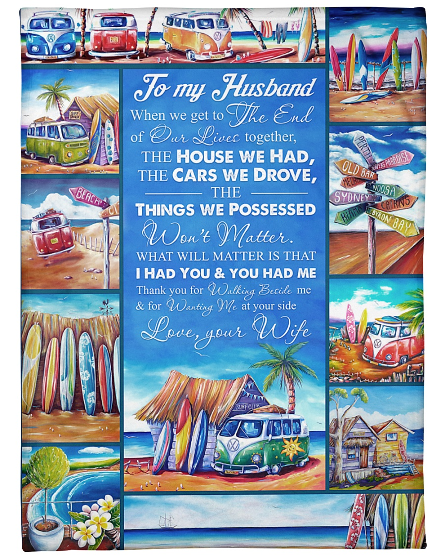 "TO MY HUSBAND LOVE YOUR WIFE Large Fleece Blanket - 60"" x 80"""