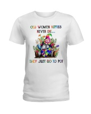 OLD WOMEN HIPPIES NEVER DIE Ladies T-Shirt thumbnail