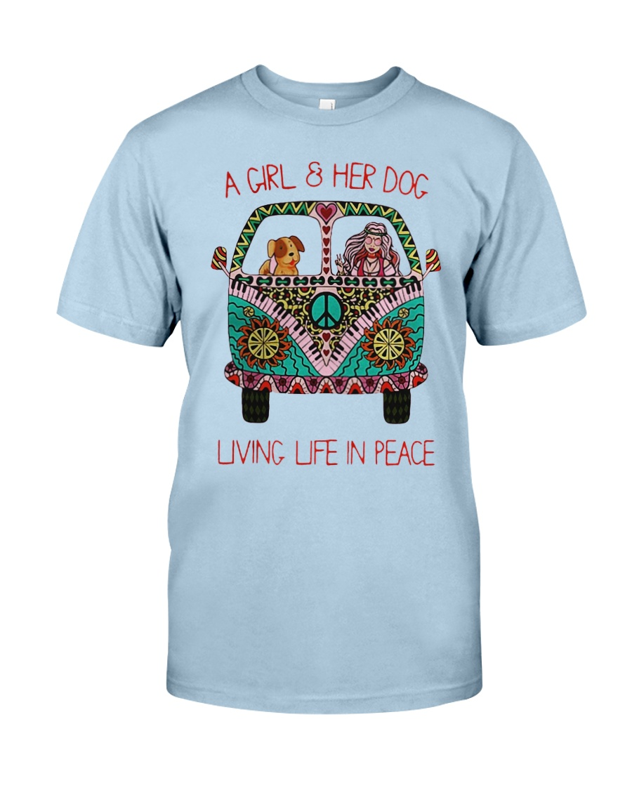 Hippie A girl and her dog Living in Peace Classic T-Shirt