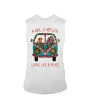 Hippie A girl and her dog Living in Peace Sleeveless Tee thumbnail