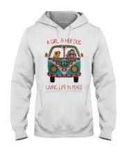 Hippie A girl and her dog Living in Peace Hooded Sweatshirt thumbnail